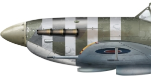 Spitfire with white stripes intended for use during Operation Rutter