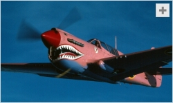 Sue Parish flying her pink P-40