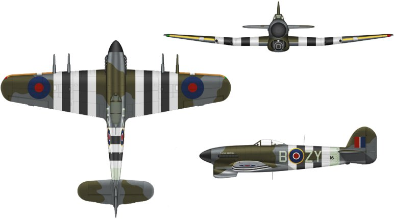 The layout of inviasion stripes on a fighter aircraft (Hawker Typhoon)