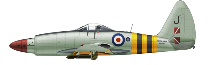 Westland Wyvern with yellow and black stripes